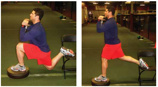 Elevated front split squat exercise for pitchers image