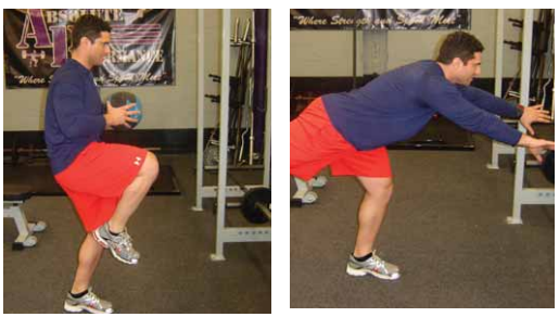 Single leg medicine ball chest toss exercise for pitchers image