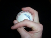 Pitching grip change up with the seams image