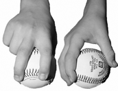 Pitching grip two seam fastball across seams image