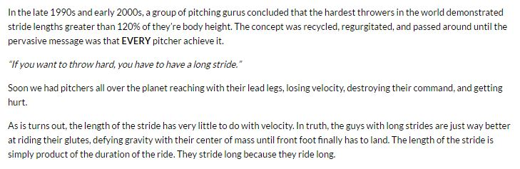 Randy Sullivan pitching mechanics stride length quote image